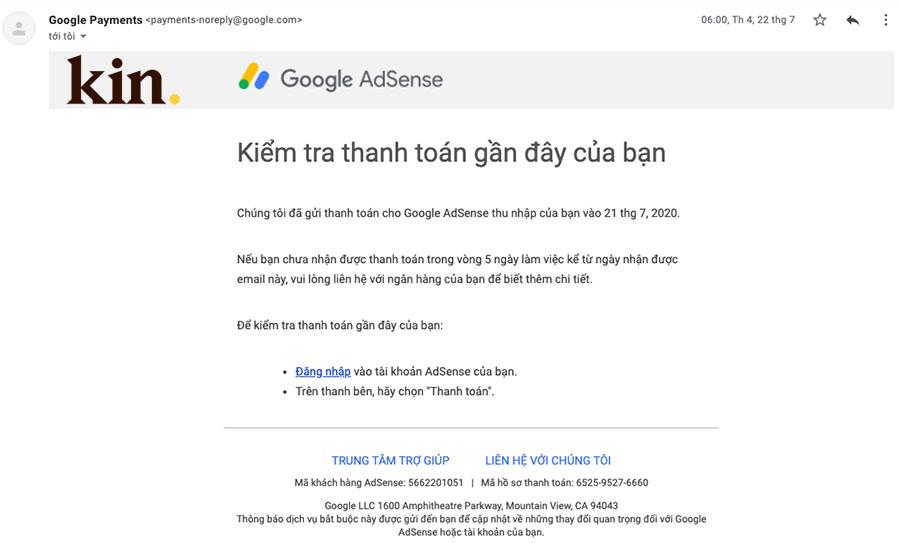Kin nhận thanh toán Adsense vào ngày 21 hàng tháng