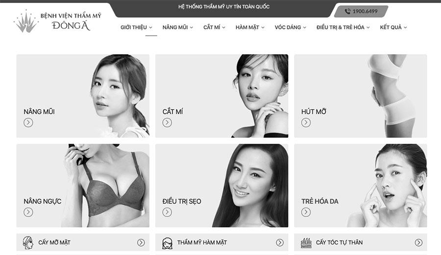 Website chính của bệnh viện thẩm mỹ Đông Á với nhiều dịch vụ