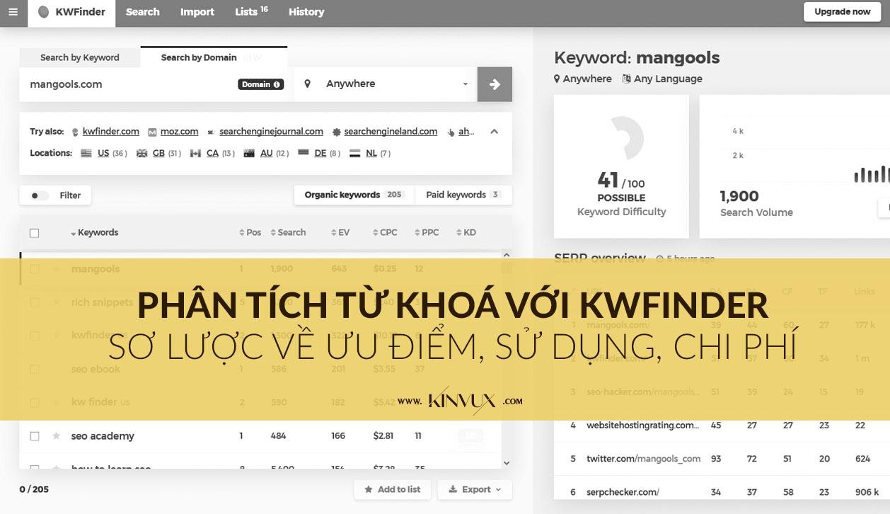 KWFinder - Công cụ phân tích từ khóa nổi bật chi phí tốt
